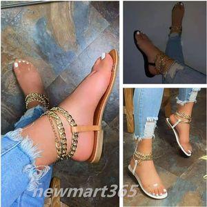 2021 Designer neue quadratische sandalen flache boden rutschen metall kette transparente schuhe damen strand sandal