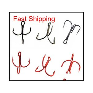 100pcs 35647 High Carbon Steel Treble Fishing Hooks Red Black Round Bent Triple Har bDI hairclippers2011