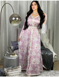 Ethnic Dress 2021 Fashion New Women's Printing Long Dresses V Neck Long Sleeve Panelled Lady's Casual Loose Dress