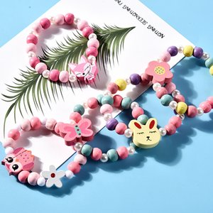 Дети Ожерелье наборы аксессуар красочные бусины лиса кролик unicorn шарм очаровательные бусы ожерелье и браслет девочка девочка день рождения подарок