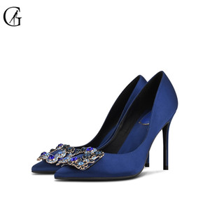 GOXEOU MUJERES DE MUJERES Fancy Tacones altos Rhinestone Jewelry Broche Bridal Panited Toe Luxury Body Party Office Lady Shoes 32-46 210302