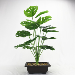 50 cm 18fork Gran planta artificial de plástico de hojas de tortuga de plástico Fake Monstera Branch Tropical Green Plant para Bonsai Decoración interior 715 K2