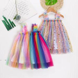 Girls Tulle Suspender Skirts Tutu Summer Princess Dresses Kids Designer Clothes Ins Ball Gown A-line Dress Dance Party Elegant Dress AHC6142
