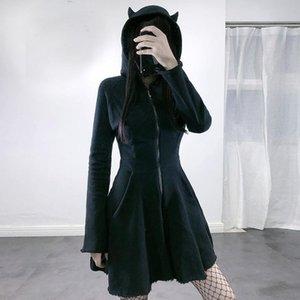 vestido Women's Gothic clothing Cat Ear Hoodie Pullover Long Sleeve Hooded Cute Sweatshirt Dress Undefined 2021