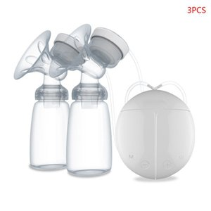 Electric Double Breast Pump Kit with 2 Baby Milk Bottles Nipple Suction Breast Massager Breastfeeding Assistant 210226