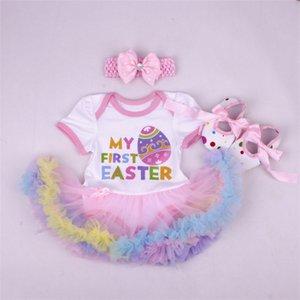 Doğum Günü Bebek Seti Yaz Kısa Kollu Roupas Infantis Bebes Paskalya Festivali Kıyafet + Tutu Pettiskirt Elbise Parti Giyim Setleri 126 Q2