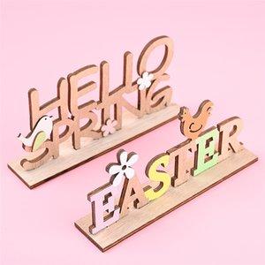 Пасхальный деревянный настольный орнамент Здравствуйте, Весна Пасхальная Письмо Домашняя вечеринка Фестиваль Украшения Поставки Детский Подарок JK2102KD