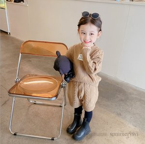 Girls twist knitted clothing sets kids round collar long sleeve sweater pullover+loose shorts 2pcs autumn children casual outfits Q2115
