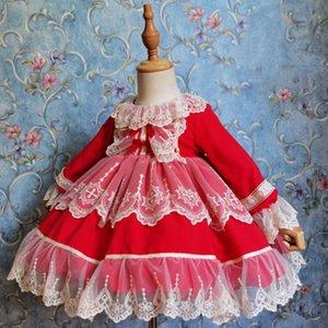 Miayii Winterfeder Langarm Vintage Spanische Lolita Prinzessin Ballkleid Nette Spitze Kleid Für Mädchen Geburtstag Eid Kleidung Y3782
