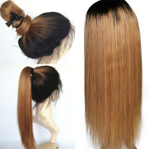 1B 27 Ombre Color Lace Front Human Hair Wigs Baby Hair Two Tone Silky Straight Remy Brazilian Blonde Full Lace Wig Free Part Bleached Knots