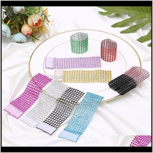 Rhineston Napkin Rings Plastic Napkin Buckle Mesh Wrap Napkin Ring Serviette Holder Hotel Wedding Accessory Table Decoration Vt0317 Ul Lwsbd