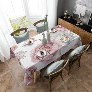 Table Cloth Vintage Flowers Watercolor Tablecloth Rectangular Christmas Dinning Decor Cover Waterproof