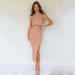 2021 새로운 여성의 2 피스 슈트, 민소매 스웨터, 풀오버, 둥근 목, 패션, 핑크 기질, 슬림 피트, 배꼽, 스커트, 가을, 겨울 3cnz