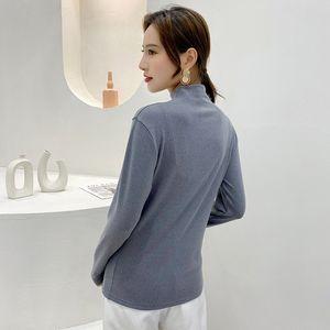 Ctrllock Turtleneck manches longues Femme Femme T-shirts T-shirts à fond chaud Couleur Solide Couleur Basic Femme Tops Hiver 2020