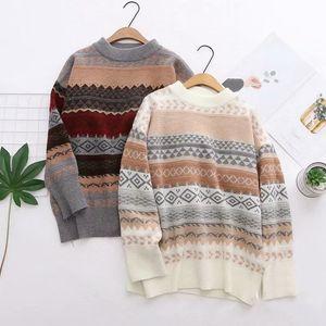 OUMENGKA Harajuku Vintage GEOMETRIC Pattern Women Loose Sweaters Korean Casual O Neck Long Sleeve Pullovers Basic Preppy Mujer 210218