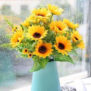 Декоративные цветы венки искусственные подсолнухи шелковый букет свадьба домашний свадебный садовый декор вечеринка S9M1