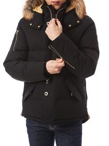 Men's Minnentonka jacket Golden jacquard lining Gold copper tomahawk YKK zipper down coat with fox furs collar