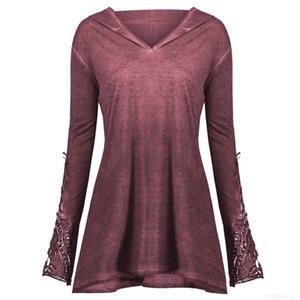 Lace Womens Crochet Casual Long Panel Sleeve Plus Size Hoodie Tops t shirt women long sleeve shirt women