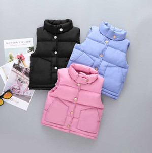 Kid Cotton Waistcoat Solid Boys Down Vest Single Breasted Girls Jacket Warm Children Outwear Winter Kids Clothing 6 Colors DW4442