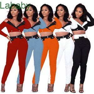 Women Tracksuit Designer Two Piece Outfits Sexy Open Navel Deep V-neck Off Shoulder Stitching Top Slim Pants 2021