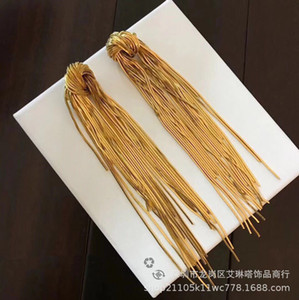 Fashion designer new Jewelry Brass plated 24K gold flow soda knot long earrings style fashionable show