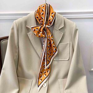 2021 new spring and autumn thin narrow ribbon scarf women's hair band printing collarbone scarf small scarf long ribbon bag
