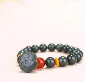 Natural Hetian Sapphire Lotus Beaded Bracelet free shi pping