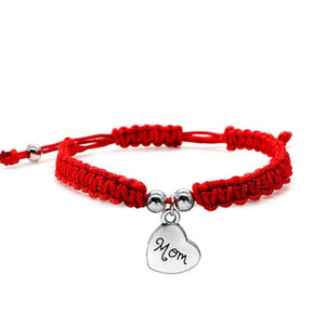 New Handmade China Red String Woven Bracelet Beaded Lucky Happiness Charm Mom Jewelry For Mother's Day