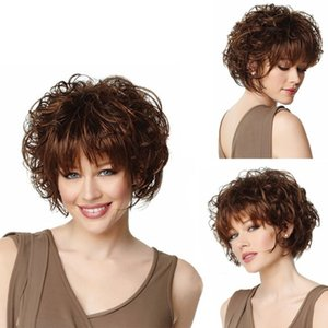 2018 Hot Selling Wigs European and American Fashion Rose Net Fluffy Short Curly Brown Straight Bangs Realistic Ladies Wigs