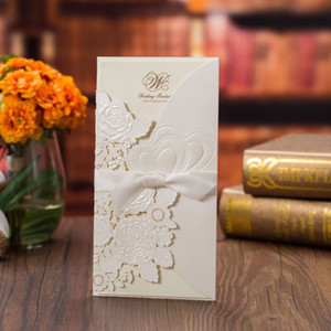 1pcs White Laser Cut Wedding Invitations Card Elegant Love Heart Greeting Cards Customize with Ribbon Wedding Party Decoration