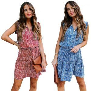V-шеи Цветочные Печатные Платья без рукавов Повседневная Женская Одежда Новый Стиль Женщины Дизайнерские Платья Мода
