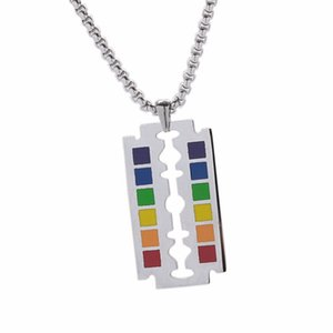 1PCS Fashion Rainbow Safety Razor Blade Pendant Gay Pride LGBT Necklace Hip Hop Lesbian Gay Love Blade Beaded Chain Jewelry