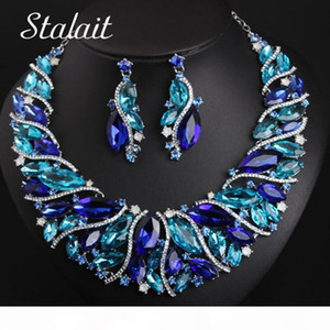 Vintage Statement Crystal Necklace Earrings Set Retro Dubai Bridal Jewelry Sets Women's Party Luxury Big Colorful Jewellery Gift CX2008