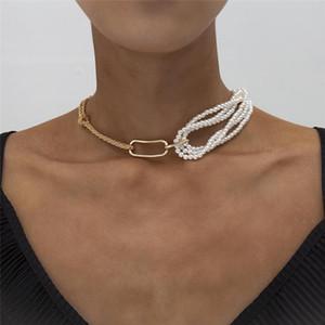 Kinfolk Steampunk Steampunk único grueso grueso cadena de giro femenino collar de encanto gótico multicerado imitación perla colgante collar