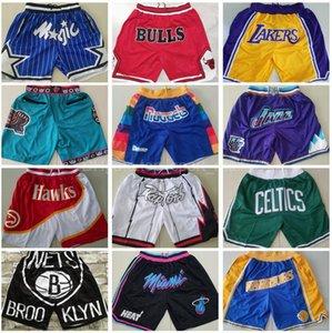 남자 팀 농구 반바지 그냥 돈 짧은 엉덩이 팝 스포츠 착용 팬츠 포켓 지퍼 스웨트 팬츠 블루 화이트 블랙 레드 퍼플 스티치 좋은 품질 남자 크기 S-XXXL