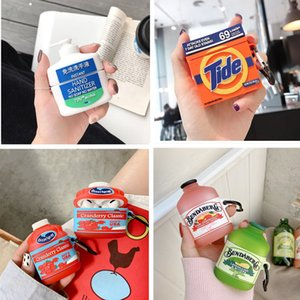 For Apple AirPods 1 2 3D Hand Sanitizer Cute Drink Bottle Case Wireless Headset soft silicone earphone protect cover for airpods pro 3