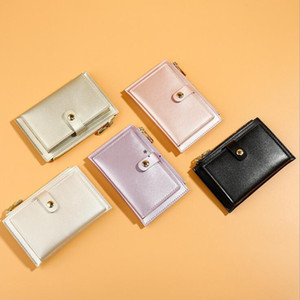 Laser Wallet Fashion Women Purse Hand Bag Zipper Buckle Card Holder Coin Purses Solid Pearly Lustre Wallets Card Bag Money DHB4823