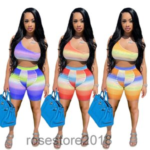 5 colori Vendita calda Nuova moda donna Multi Color Gradient Stampa Sport Sport Two Piece Set Designer Style Style Slim Shorts Slim Tuta