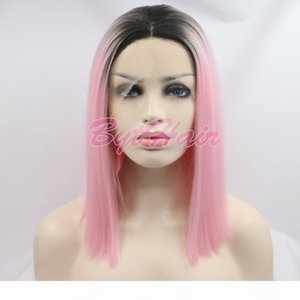 Bythair Fashion Lace Front Wig Ombre Black&Pink 12 inch Straight Short Bob Synthetic Heat Resistant Hair wigs Popular Free Shipping By DHL