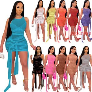 Summer womens nightclub dress Sexy mesh perspective knotted tie bandage sleeveless vest short dress party clubwear plus size clothing