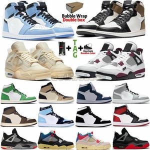 С Box носки Размер 13 Jumpman 1 тапки дымковый Travis Scotts UNC 1S Mens Basketball обувь Чикаго турбо зеленый обсидиан Женщины Тренеры