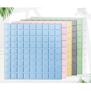ZL 10pcs 3D Wall Stickers Imitation Brick Decor Panel Self-adhesive Waterproof Anti-collision Wallpaper Home Backdrop Decoration