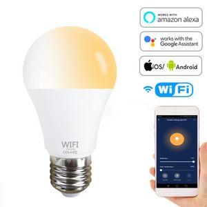 E27 Wifi Smart LED Bulb Google Assistant Amazon Alexa Voice Control Lamp E26 B22 Timer Dimming Bulb Cold Light White Light E26 B22