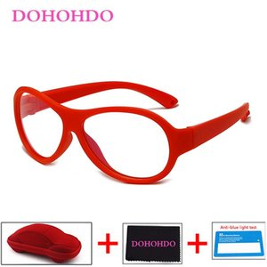 DOHOHDO 2021 Girls Boys Anti Blue Light Glasses Oval Frame TR90 Silicone Kids Eyeglasses Computer Eyewear UV400 Okulary With Box