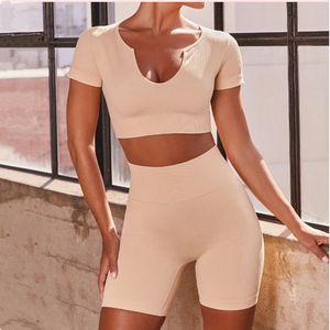 Lulu Legging Style 2021new Seamless Vertical Bar Yoga Clothes Sexy U Collar Sports Top Hip Lifting High Elastic Shorts Fitness Suit Lulu Spo