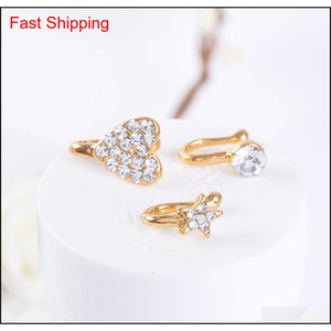 Clip On Nose Ring Piercing Jewelry Fashion Body Jewelry Diamond-shaped Heart-shaped New Nose, Non-porous qylzVW homes2007