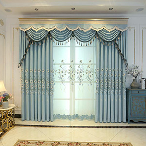 European style embossed embroidered curtains chenille linen for living room bedroom study modern minimalist curtain tulle custom