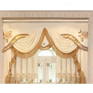 Velvet Simple Room Modern Living Embroidery Curtains for Fabric Valance Window Pelmet Blackout Luxury Drapes Decoration