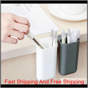 Creative Pasteable Pen Holder Desktop Storage Boxes Desk Pen Pencil Organizer Office Sundries Storage School St qylroi lyqlove