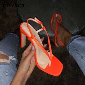 Eillken Pinch Sandals мода пряжка ремешка дамы лето супер высокий каблук женские сандалии партии обувь черный оранжевый размер 35-40 210306
